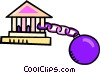 Vector Clip Art graphic  of a chained to the bank