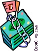 stack of money under lock and key Vector Clip Art graphic