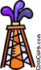 Vector Clip Art image  of a oil well striking oil