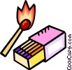Vector Clip Art image  of a box of matches