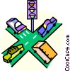 Vector Clipart picture  of a vehicles at an intersection