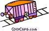 Vector Clipart graphic  of a railcar on train tracks