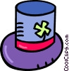 top hat with a four leaf clover Vector Clipart image