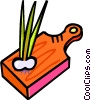 Vector Clip Art image  of a green onions on a cutting