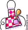 Vector Clipart graphic  of a spoon with a checkered table cloth