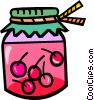Vector Clipart picture  of a jar of cherry preserves