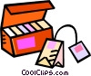 Vector Clip Art picture  of a box of tea with a tea bag