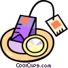 Vector Clipart graphic  of a tea bag on a plate
