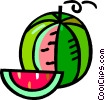 Vector Clipart picture  of a watermelon with a piece cut