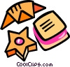 Vector Clipart image  of a cookies and croissant