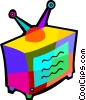 Vector Clip Art image  of a TV