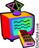 television with remote control Vector Clipart illustration