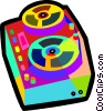 Vector Clip Art image  of a reel to reel tape players