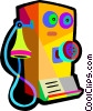 Vector Clip Art picture  of a old telephone