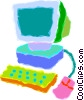 Vector Clip Art image  of a home/office computer system
