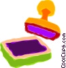 Vector Clipart picture  of a ink pad and stamp
