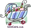 Vector Clipart graphic  of a baby strollers