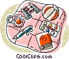 Vector Clip Art graphic  of a baby toys on a baby blanket