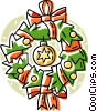 Vector Clip Art image  of a Christmas wreath