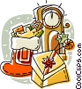 Christmas stockings and grandfather clocks Vector Clipart picture