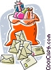 Vector Clipart graphic  of a Santa sack with Christmas envelopes