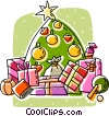 Vector Clipart image  of a Christmas tree and presents