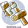 Vector Clip Art image  of an axe with firewood