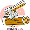 axe with firewood Vector Clip Art picture