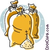 Vector Clip Art graphic  of a bags of grain