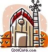 Vector Clipart image  of a farm with a windmill