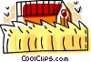 wheat with a barn in the background Vector Clipart picture