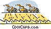 Vector Clipart graphic  of a combines cutting wheat