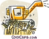 Vector Clipart picture  of a combine cutting wheat