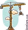 Vector Clip Art image  of a construction cranes