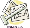 Vector Clip Art picture  of a building plans with a square