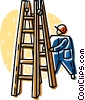 Vector Clipart graphic  of a ladder and construction worker