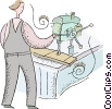 Vector Clip Art image  of a person working at a drill