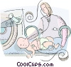 Vector Clipart picture  of a newborn baby in an incubator