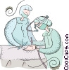 doctor performing surgery Vector Clip Art image