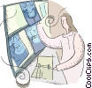 doctor looking at an x ray Vector Clipart picture