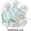 technicians checking eggs Vector Clipart image
