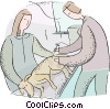 vet looking at a sick dog Vector Clipart image
