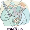 Vector Clipart illustration  of a doctor in surgery