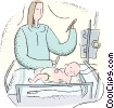 doctor with a newborn baby Vector Clip Art image