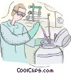 Vector Clipart image  of a technician working with