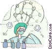 doctor studying DNA Vector Clipart illustration