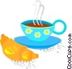 Vector Clip Art graphic  of a Coffee cup with croissant