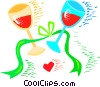 Wine glasses with ribbons Vector Clipart image