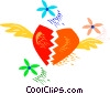 Vector Clip Art graphic  of a Broken heart