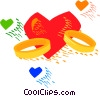 Wedding rings and heart Vector Clipart picture